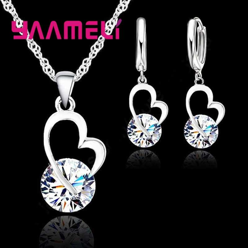 Exquisite Jewelry Sets For Women 925 Sterling Silver Wedding Earrings Pendant Necklace Party Anniversary Charm Gift