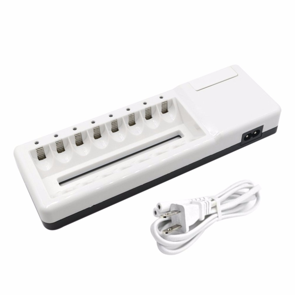 Intelligent Fast AA AAA Charger Set 8 Slots Independent Charger With 8 Batteries AA/ AAA/ Nickel Cadmium Battery Polymer Shell