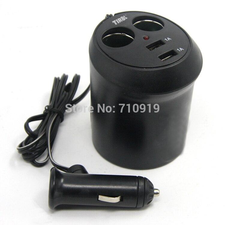 <font><b>Tirol</b></font> T16313d <font><b>New</b></font> 12 V 2 Way with 2 USB <font><b>Cup</b></font> <font><b>Holder</b></font> <font><b>Auto</b></font> Cigarette Splitter Lighter Power <font><b>Adapter</b></font> 5V/2A Car Charger