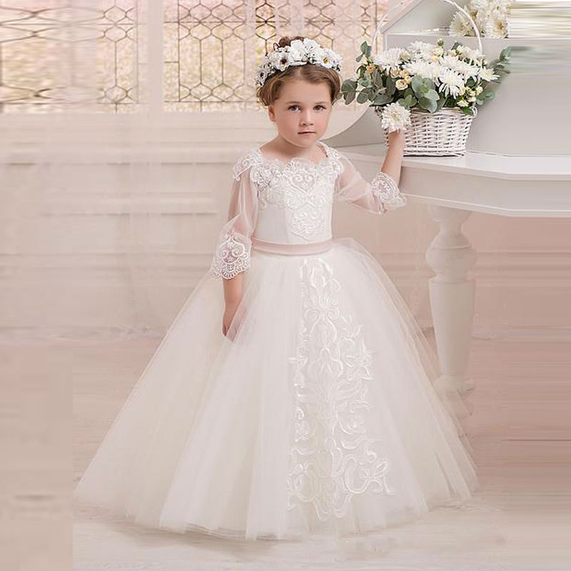 Three Quarter Sleeves White/Ivory Flower Girls Dresses Ball Gown Lace with Belt Pageant Gowon Customized Size недорго, оригинальная цена