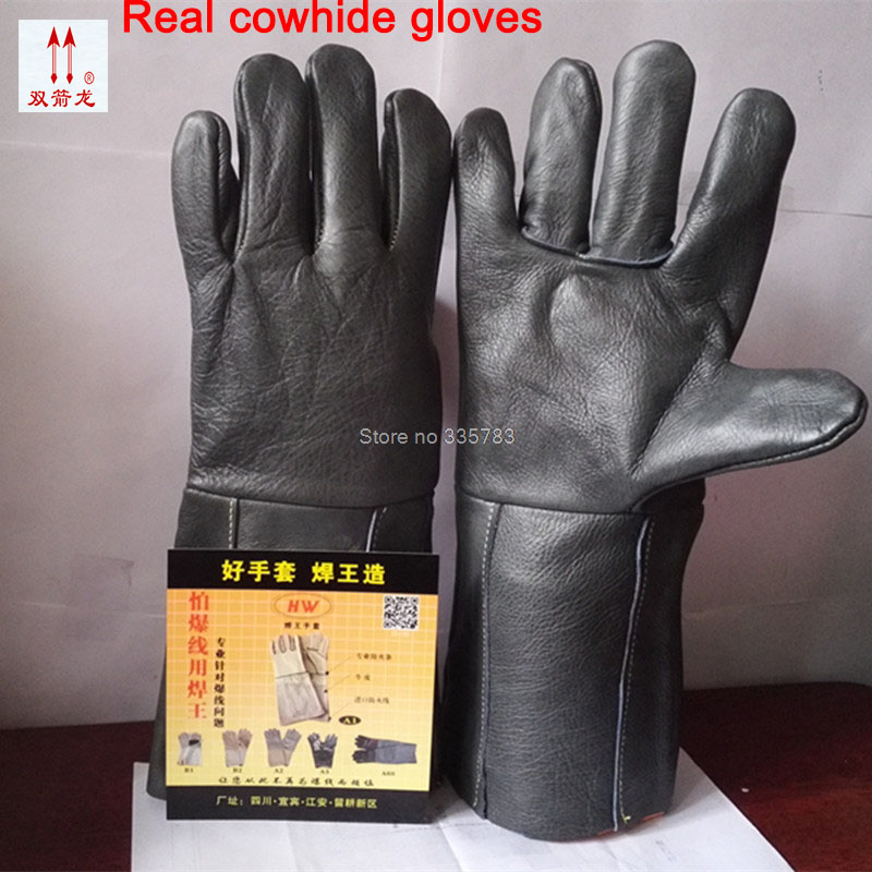 welding gloves High quality guantes trabajo cuero cowhide Large size fireproof The cut safety guantes de proteccion the new 2017 guantes trabajo yellow anti cut driving gloves second grade a cowhide gants travail hommes