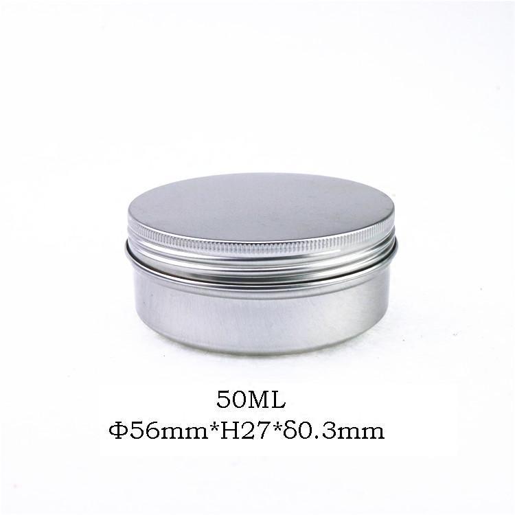 Free shipping 50pcs 50g aluminum jar 50 gram metal cream jar silver aluminum case 50ml metal