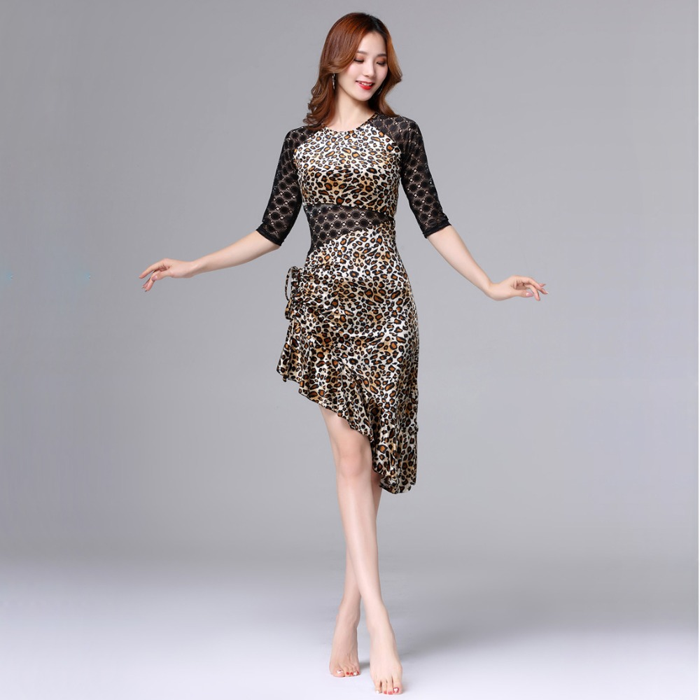 2019 Women Dance Wear Ballroom Dress Samba Costume Sexy Party Dresses Floral Lace One-piece Latin Dress Leopard