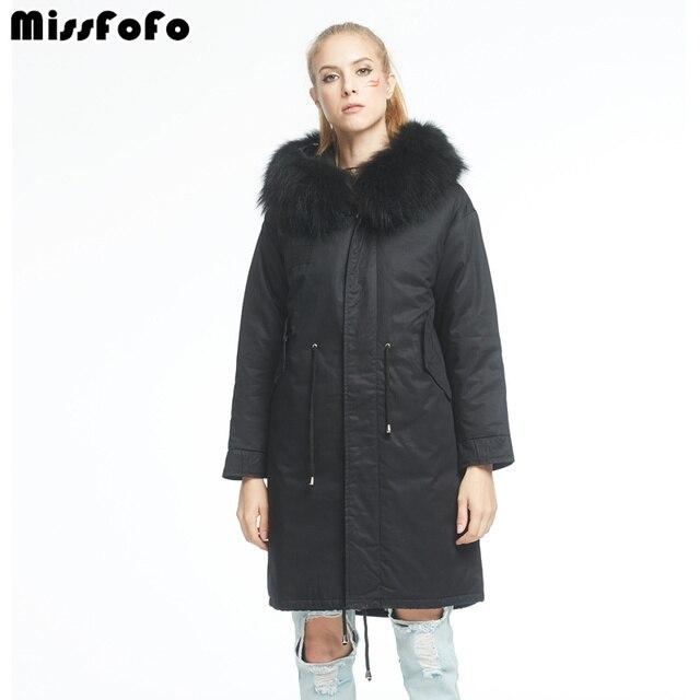 Missfofo Новинка 2017 года Для женщин утка Подпушка куртка карман большой Натуральный мех черный S-XL высокое качество очень теплый модный бренд Тканые