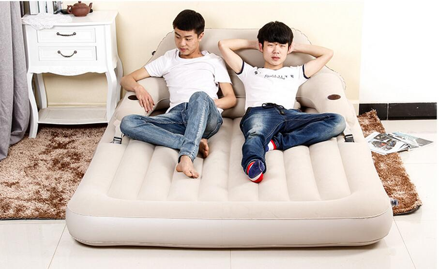 Flocking pvc luxury backrest inflatable bed two people seat and sleeping apartment folding nap double bed bed. foldable couchFlocking pvc luxury backrest inflatable bed two people seat and sleeping apartment folding nap double bed bed. foldable couch