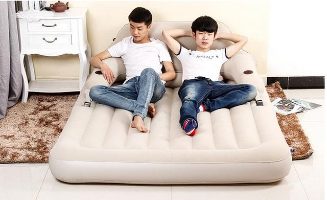 Flocking pvc luxury backrest inflatable bed two people