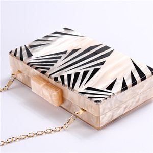Image 2 - Fashion Pearlescent Acrylic Bag Chain Women Messenger Bag Geometric Patchwork Clutches Elegant Evening Bag Party Prom Handbags