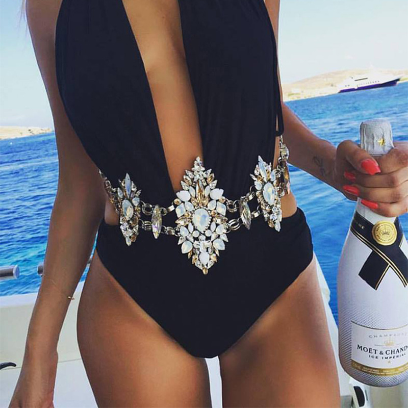 8 rəng! Lüks Sexy Crystal Bodychain Yaz Çimərliyi Seksual Bikini - Moda zərgərlik - Fotoqrafiya 3