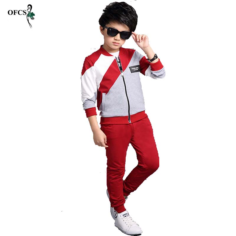 New Spring Boys Sport Suit Leisure Cotton Tracksuits For Boy Two-piece Children Long Sleeve Kids Clothing Set with Letter Autumn 2015 new arrive super league christmas outfit pajamas for boys kids children suit st 004