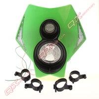 Vert LED Moto Headligh Streetfighter Dirt bike Head Light Fit pour KLX CRM XR DRZ RMZ RM 250 YZ WR LED