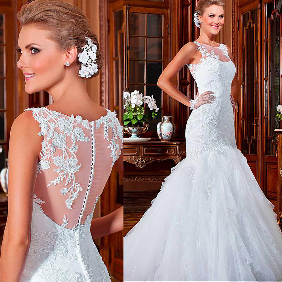 Ruching Wedding Gowns: Alluring Tulle Jewel Neckline Mermaid Wedding Dresses With