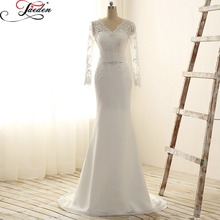 JAEDEN Long Sleeves Mermaid Wedding Dresses Beads Lace Appliques Chiffon Floor Length Sexy Back 2017 E237 V Neck Bridal Gowns