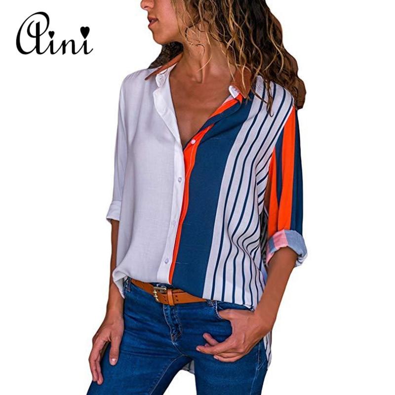 Plus Size Women Tops and Blouse 2018 Elegant Autumn Long Sleeve Striped Print V-neck Blouse Female Shirts Single Breasted Blouse