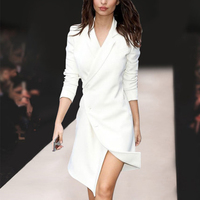 High Quality Unique Designing Elegant Runway Women's Notched Buttons Black & White Solid Color Causal Asymmetrical Dress