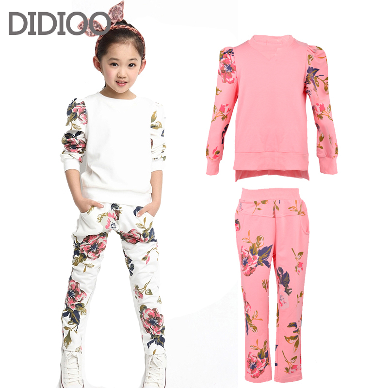 Girls autumn sets baby outfits kids clothes long sleeve floral print pullover top & sprot pants children clothing set size 2-14 autumn winter girls children sets clothing long sleeve o neck pullover cartoon dog sweater short pant suit sets for cute girls