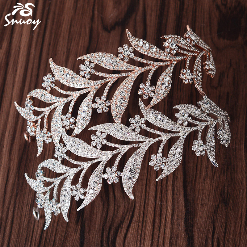 Snuoy Silver/Pink Flower Hair Accessories Wedding Jewelry Hair Comb Vivid One Leaf Alloy Tiaras Crown Rose Gold Bride Hairbands 00009 red gold bride wedding hair tiaras ancient chinese empress hair piece