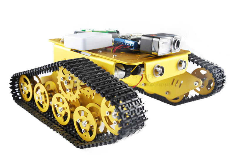 DIY TK3-V Aluminum Tracked video robot WIFI RC video transmission android car Wali Metal Gear motors with Hall speed diy tracked robot