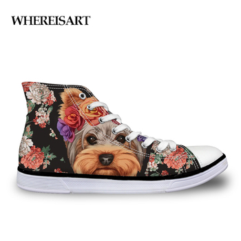WHEREISART Cute Floral Yorkie Printed Women's Shoes New 2019 High Top Canvas Shoes Woman Casual Skate Trainers Flat Zapatillas