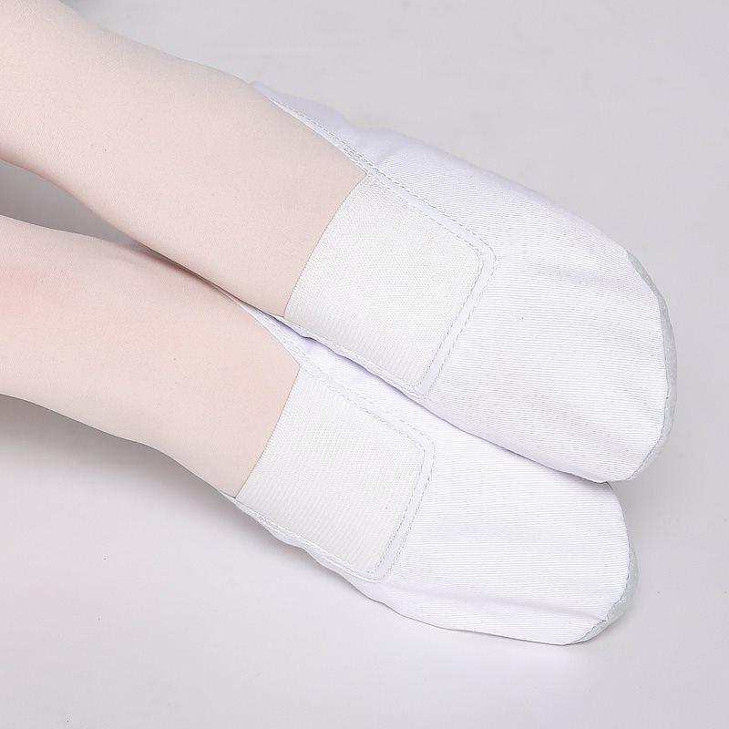 USHINE EU22 45 Whole Leather Sole Black White Flat Yoga Teacher Fitness Gymnastic Ballet Dance shoes For Children Woman Man