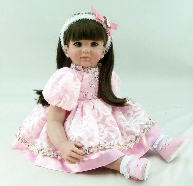 60cm Silicone Reborn Babies Doll Toy For Girl Vinyl Princess Toddler Girl Baby Doll Birthday Gift Present Child Kids Play House vinyl silicone snow white toddler doll toy play house birthday gift for kids child cute high end princess reborn girl baby dolls