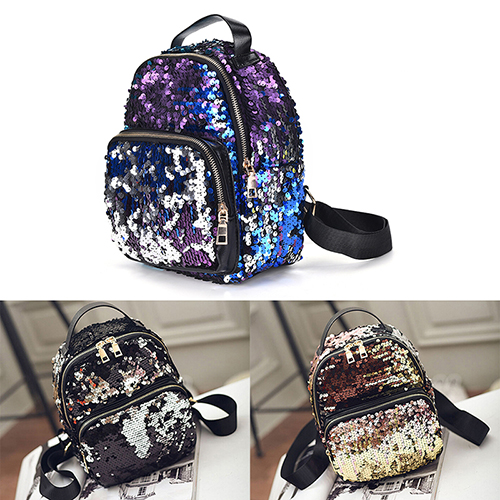 Jetting 2017 New Arrival Women All-match Bag Pu Leather Sequins Backpack Girls Small Travel Princess Bling Backpacks 3 Colors #3
