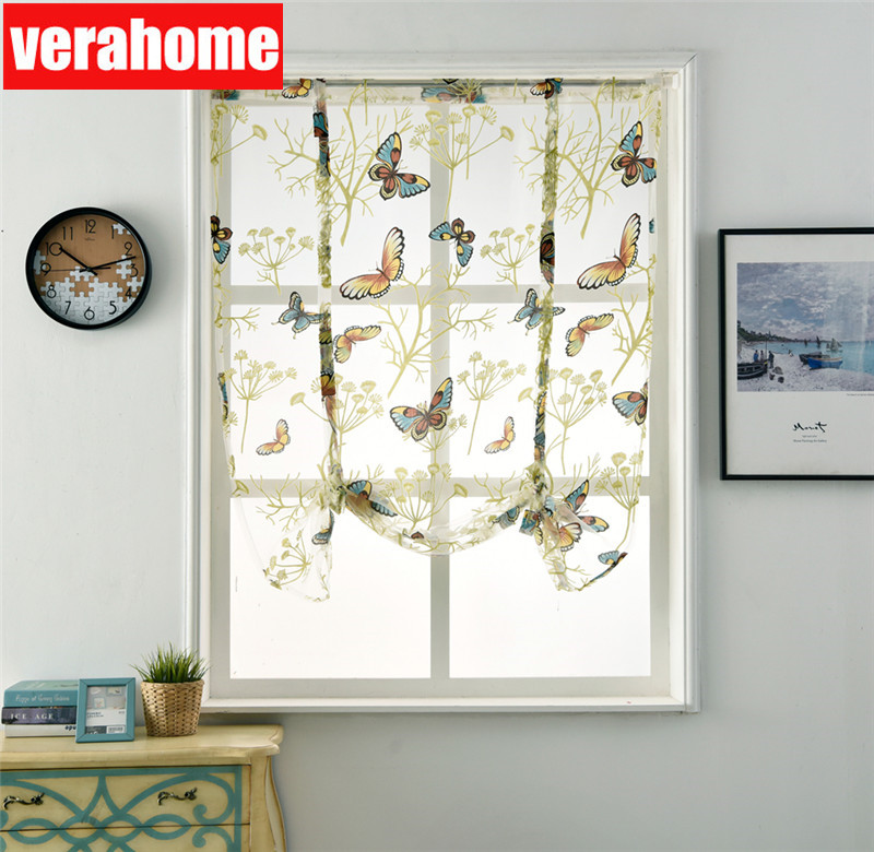 Butterfly Tulle Sheer Voile Roman Short Kitchen Windows  Curtains For Kitchen Valances Living Room Bedroom Bay Home Decoration