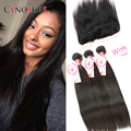 8A Top Mink Brazilian Hair With Closure Virgin Brazilian Straight Hair With Closure Ear To Ear Lace Frontal Closure With Bundles