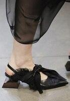Японский сабо на необычном каблуке туфли лодочки с острым носком на шнуровке модные, пикантные женские шить Цвет обувь Slingback пятки прохладн
