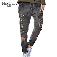 Max LuLu 2018 Vintage Korean Style Printed Girls Harem Pants Womens Ripped Black Jeans Boyfriend Streetwear Woman Denim Trousers