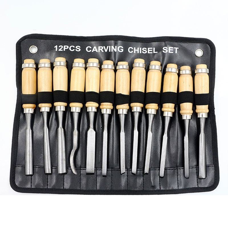 FIXFANS 12PCS Professional Wood Carving Chisel Tool Kit Carpenters Woodworking Sculpting Knife DIY Detailed Hand Tools Set