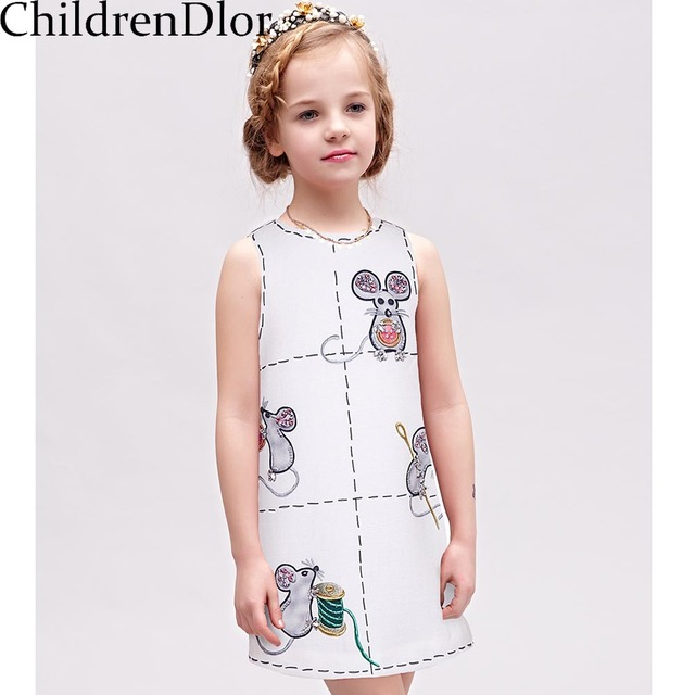 Girls Princess Dress 2017 Brand Children Costume for Kids Party Dresses with Mouse Printed Vestidos Infantis Girls Clothes 2-10Y