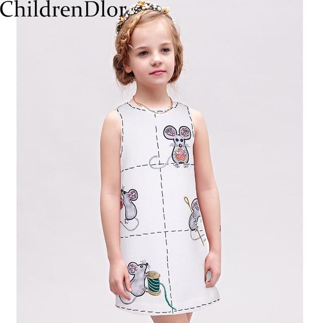 Niñas Vestido de la Princesa de 2017 Niños de la Marca de Vestuario para Niños Vestidos De Fiesta con el Ratón Impreso Vestidos Infantis Niñas Ropa 2-10Y