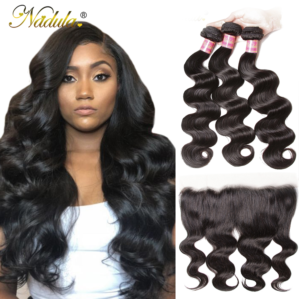NADULA HAIR 13*4 Transparent Lace Frontal /Medium Brown Body Wave Bundles With Frontal Brazilian Remy Hair Frontal With Bundles