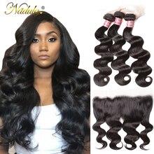 Nadula hair 13*4 투명한 레이스 정면/중간 갈색 바디 웨이브 번들, 정면 브라질 레미 헤어 정면 (번들 포함)