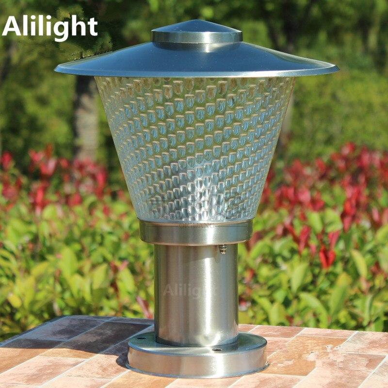 Stainless steel led garden column lights outdoor for Landscape pillar lighting
