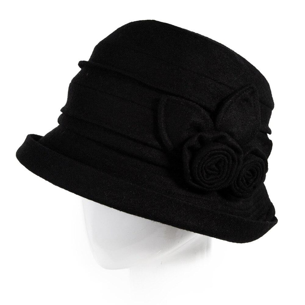 b1abdca94e1 Women Winter Bowler Fedora Felt Hats Packable Wool Cloche Autumn Warm SIGGI  Cap Sombreros Chapeau Femme 1920 Vintage 16076