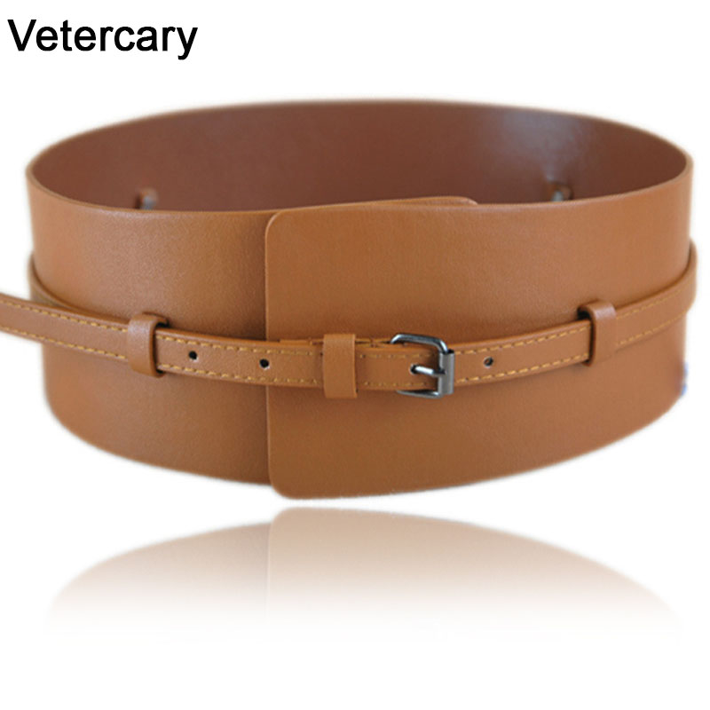 New Fashion Women Belts Ladies Wide Belt Brown Faux Leather Causal Skinny Waistband Black Strap Belt Dress Clothes Accessories