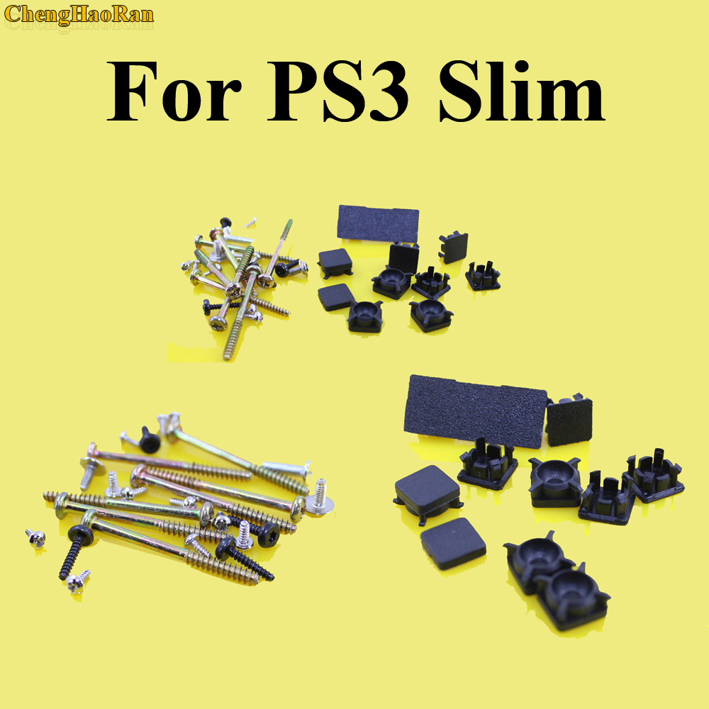 ChengHaoRan 1set Full Set Black Plastic For PS3 Slim Console Screws Screw Rubber Feet Cover Set Screws Kit Repair Parts Replace