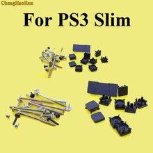 ChengHaoRan 1set Full set Black Plastic For PS3 Slim Console Screws Screw Rubber Feet Cover Set Kit Repair parts Replace