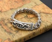 Thai Silver Genuine 925 Silver Mens Jewelry Bracelet For Men Male Personality Rattan Pattern Men S