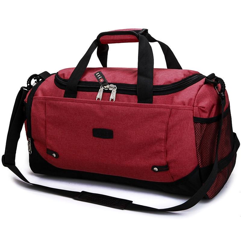 MARKROYAL Многофункциональный Водонепроницаемый Для мужчин Дорожная сумка с защитой от краж дорожная сумка для путешествий большой Ёмкость Сумки из натуральной кожи для уик-энда в одночасье - Цвет: Dark Red