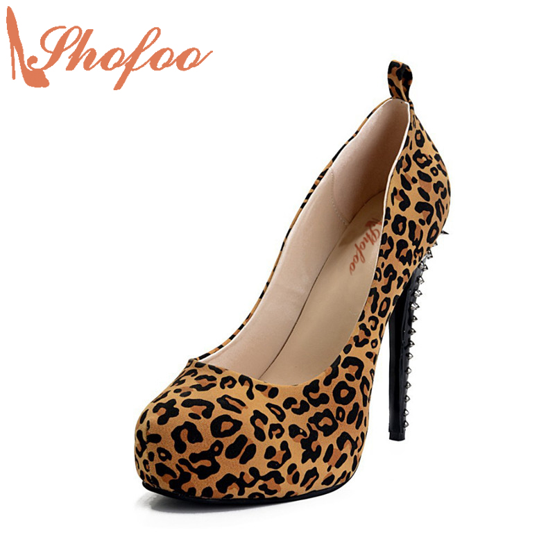 Shofoo 2017 Women Fashion Leopard Stiletto 15cm High Heels Pumps Party&Dress Shoes Platform 3.5cm Slipper ,Large Size4-14