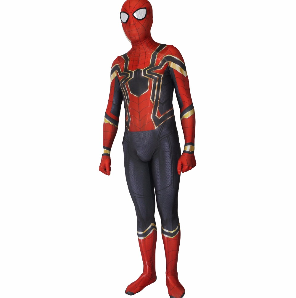 2018 New Spiderman Homecoming Cosplay Costume Zentai Iron Spider Man Superhero Bodysuit Avengers War Suit Jumpsuits
