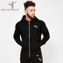 2017 Fall new men cotton sweatshirt gyms Fitness bodybuilding Hoodies Casual fashion Hooded Jacket zipper slim fit Sportswear(China)