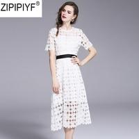 2018 Summer Dresses Women's Fashion Slim Vestido Elegant O Neck Short sleeve High Waist Knee Length Hollow out Lace Dress C1116