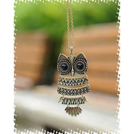 Korea Menghiasi Artikel Vintage Burung Hantu Liontin Kalung Kuno Burung Hantu Sweater Chain Perhiasan