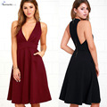 Mujeres hombro dress v profundo atractivo sin mangas pocket dress del partido de tarde elegante vintage solid summer dress vestidos de fiesta