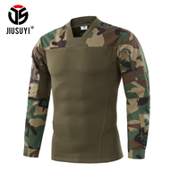 2018 Men Tactical Camouflage Clothes T Shirt Long Sleeve Military Army SWAT Airsoft Paintball Combat Uniform Top Tees Pullover