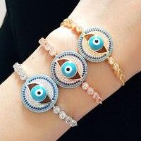 Blucome Adjustable Hamsa Hand Evil Eye Charms Bracelets Men's Punk Jewelry Fashion Cubic Zircon Love Chain Bangle Pulseras