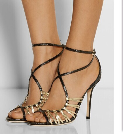 ФОТО 2016 Narrow band New Fashion peep toe high thin heel front sliver and golden lace decorated cut-out buckle sandals for woman